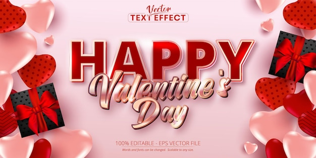 Happy valentine's day text, shiny rose gold color style editable text effect