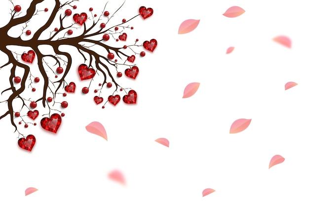 幸せなバレンタインデー。赤いハートとビーズで飾られた木。ルビーの宝石。バレンタインカード。