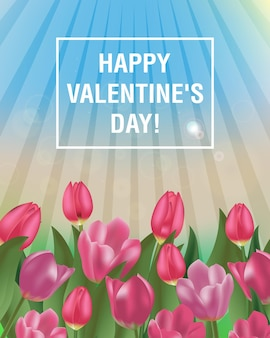 幸せなバレンタインデーのチューリップのデザイン。青い空と花と春の晴れた日。