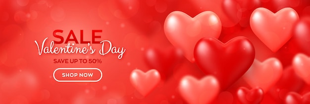 행복한 발렌타인 데이. 빨간색과 분홍색 풍선 3d 마음 발렌타인 판매 배너.