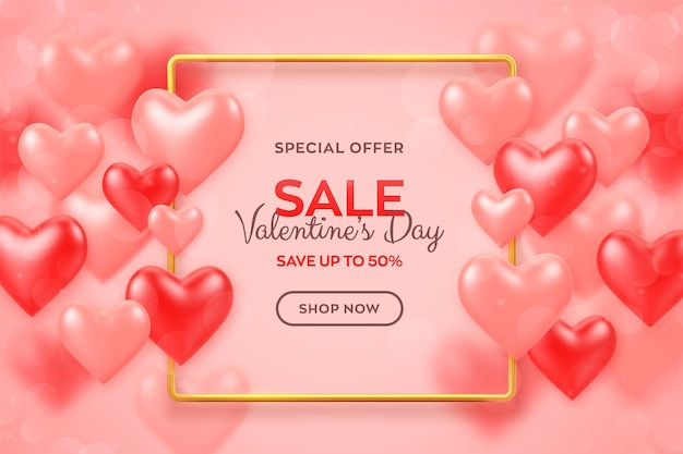 Happy valentine's day. valentines day sale banner with red and pink balloons 3d hearts with metallic golden frame.