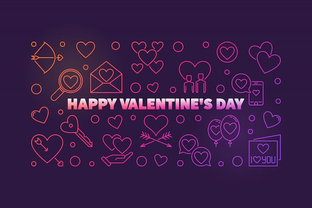 Happy valentine's day vector colored outline banner