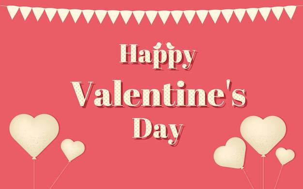 幸せなバレンタインデーのベクトルのデザインコンセプト、鳥と心の構成