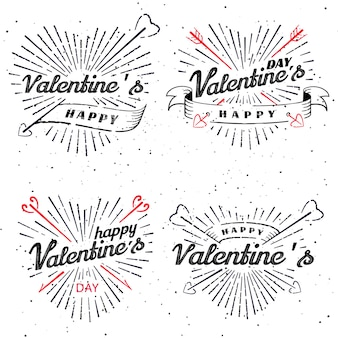 Happy valentine s day vector vintage illustration. set of signs with sun beams and arrows. stamps label with sun rays. bursting heart shape.