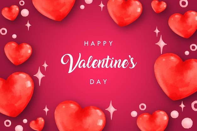 Happy valentine's day watercolor background