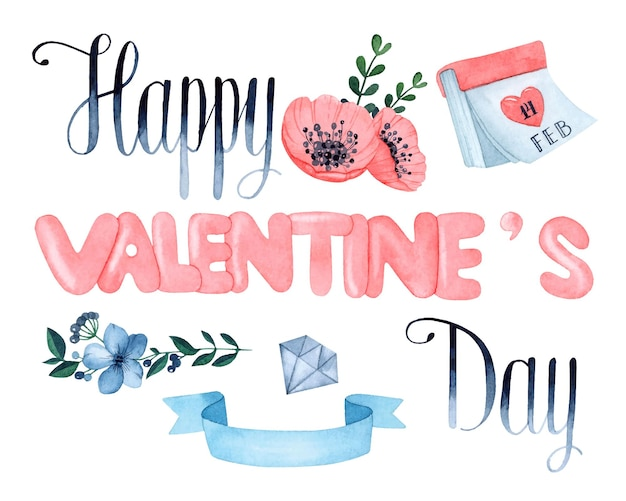 Happy valentine's day watercolor elements set isolated