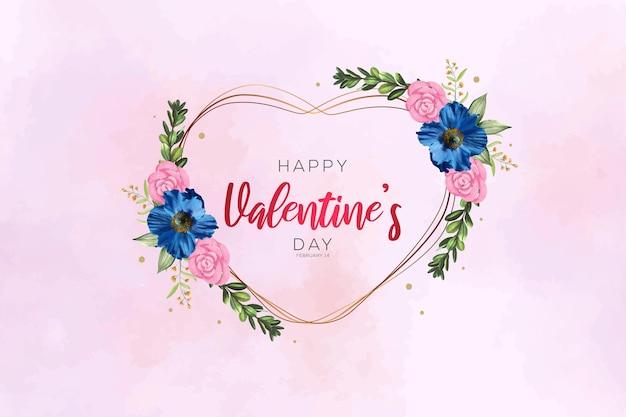 아름다운 꽃과 함께 해피 발렌타인 수채화