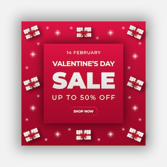 Happy valentine's day web banner or social media post template