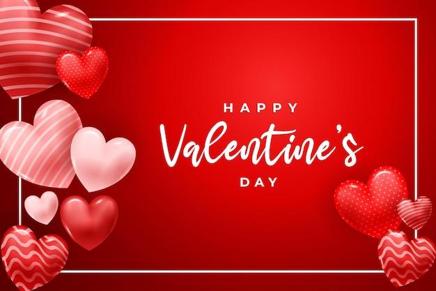 3dの心または愛と幸せなバレンタインデー。