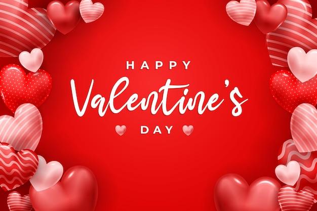 3dハートで幸せなバレンタインデー。