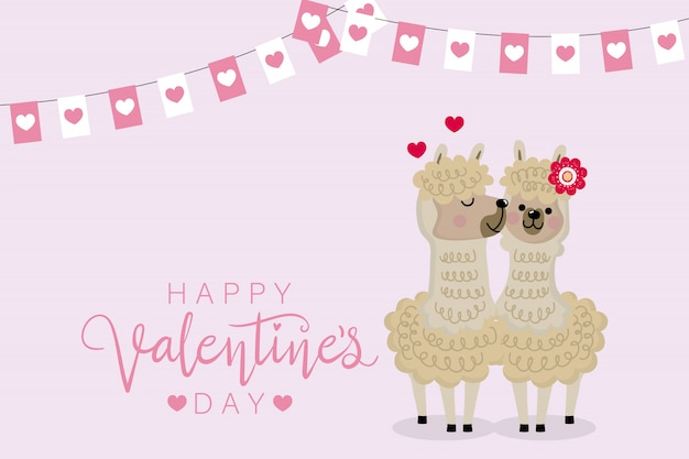 Happy valentine's day with alpaca.