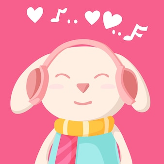 Happy valentine's day with bunny rabbit listening to music