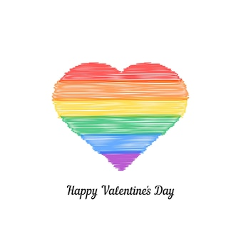 Happy valentine s day with colored scribble heart. concept of non-traditional, lifestyle, gender, matrimony, gblt. isolated on white background. hand drawn style modern logo design vector illustration
