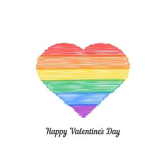 컬러 낙서 마음으로 해피 발렌타인 데이입니다. 비전통, 라이프 스타일, 성별, 결혼, gblt의 개념. 흰색 배경에 고립. 손으로 그린 스타일 현대 로고 디자인 벡터 일러스트 레이 션