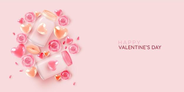 キュートで素敵な3dアートスタイルのイラストで幸せなバレンタインデー