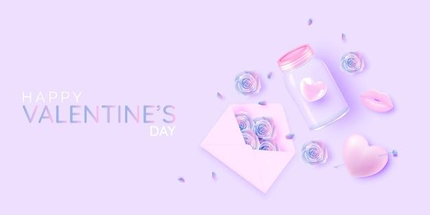 귀엽고 사랑스러운 3d 아트 스타일 일러스트와 함께 해피 발렌타인 데이
