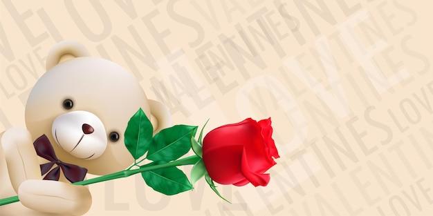 빨간 장미를 들고 귀여운 곰과 함께 해피 발렌타인