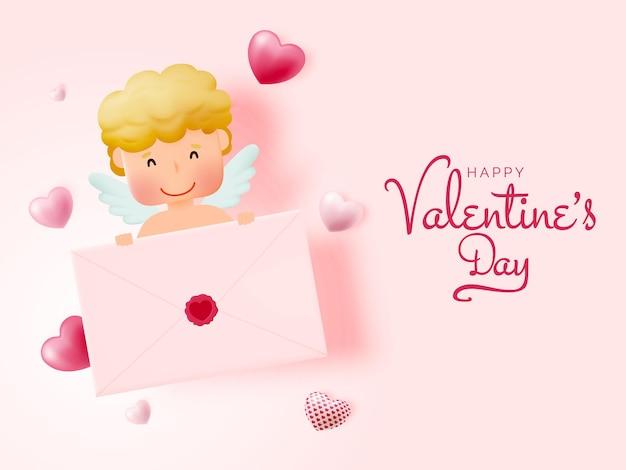 かわいいキューピッドとスタイルのイラストで幸せなバレンタインデー