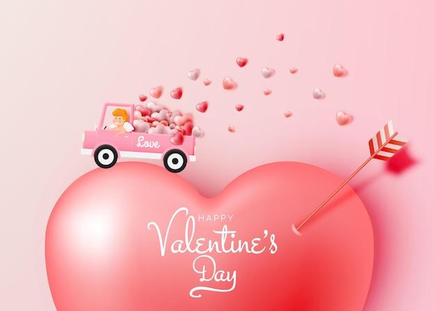 귀여운 큐피드와 스타일 일러스트와 함께 해피 발렌타인 데이