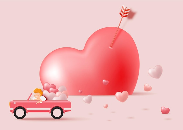 Happy valentine's day with cute cupid and   style  illustration