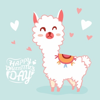 Happy valentine's day with cute llama