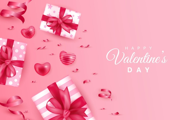 Happy valentine's day  with gift boxes and heart shape on gradient pink background
