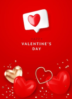Happy valentine's day with  heart and gold ribbon on red background  illustration