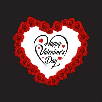 Happy valentine's day with light background and roses heart
