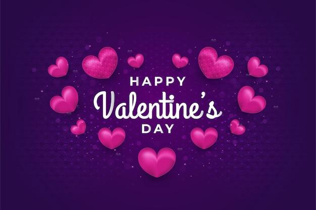 핑크 하트와 어두운 배경에 반짝이 효과와 함께 해피 발렌타인 데이