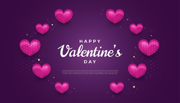 보라색 배경에 보라색 하트와 반짝이 효과와 함께 해피 발렌타인 데이