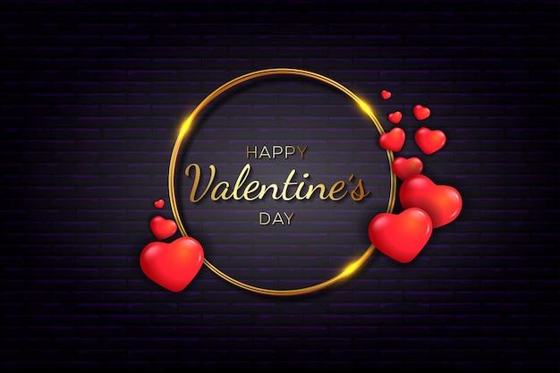 С днем святого валентина с красной и золотой рамкой