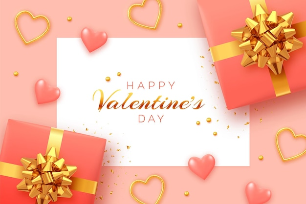 정사각형 종이 배너와 함께 해피 발렌타인입니다.