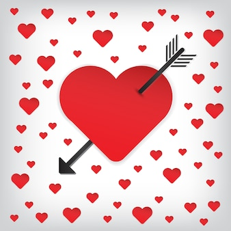 Happy Valentine's heart and arrow vector icon