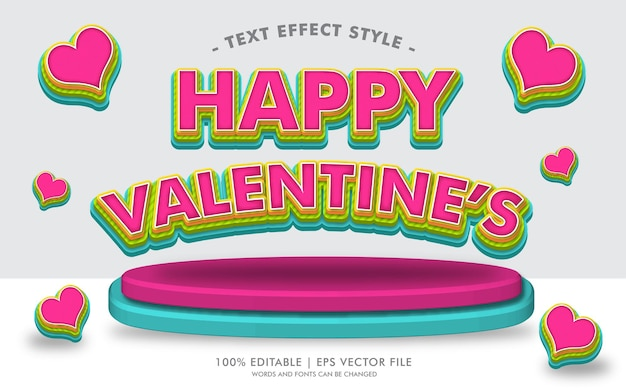 Happy valentine's text эффекты стиля