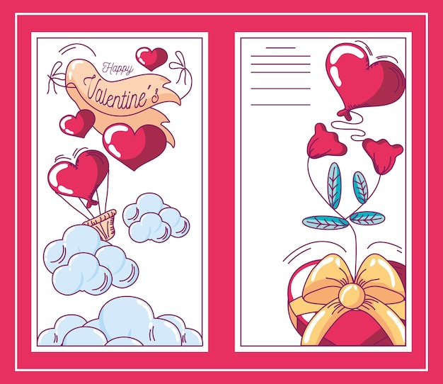 Happy valentines banners hearts flowers and balloosn decoration hand drawn style vector illustration
