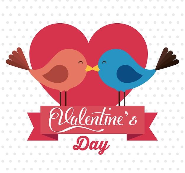 Счастливый валентина открытка с милой птицей пара в любви
