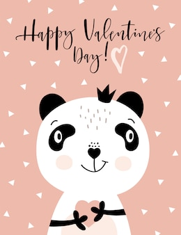 Happy valentines card with panda.