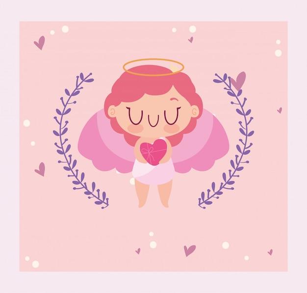 幸せなバレンタインキューピッド漫画と葉の花輪