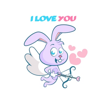 ハッピーバレンタイン、かわいい手を描いたウサギ、弓と矢