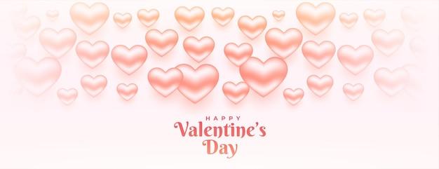 Felice giorno di san valentino 3d cuori banner design