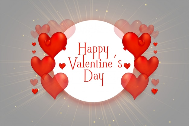 Happy valentines day 3d hearts beautiful background