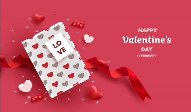 Happy valentines day. 3d realistic heart balloons and gift box with heart pattern. love season banner, greeting and card.