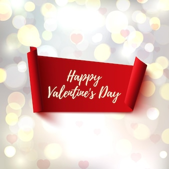 Happy valentines day abstract banner on blurred background