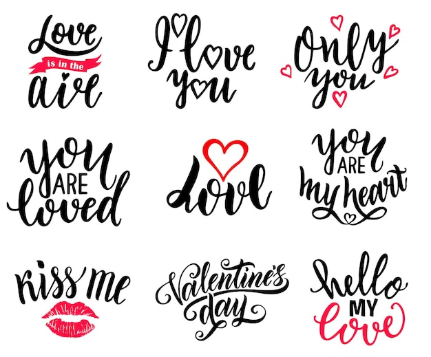 С днем святого валентина и любовным набором типографики