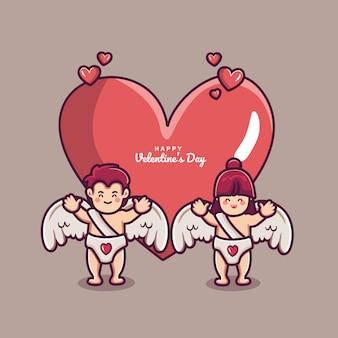 カップルのキューピッドと大きな心の愛と幸せなバレンタインデーの背景