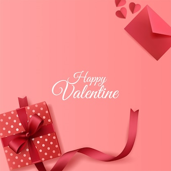 Happy valentines day background with envelope and giftbox decorations on pink background