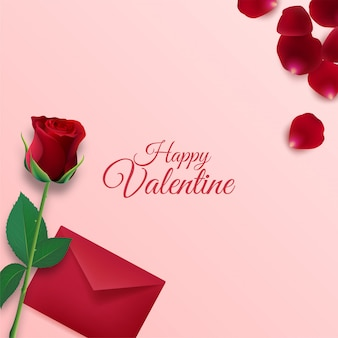 Happy valentines day background with envelope and rose flower petals decorations on pink background