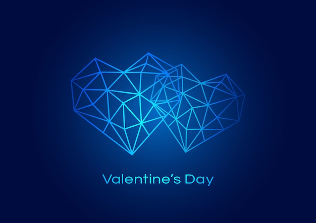 Happy valentines day background with geometric heart