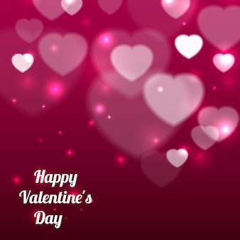 Счастливый день святого валентина фон с сердечками и текстом. векторная иллюстрация