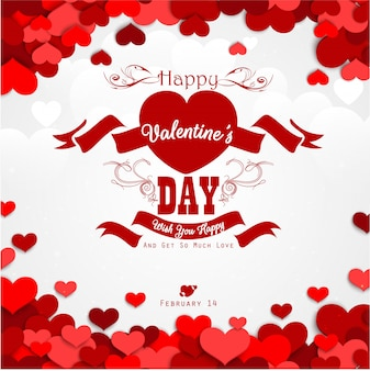 Happy valentines day background with red hearts and red ribbon